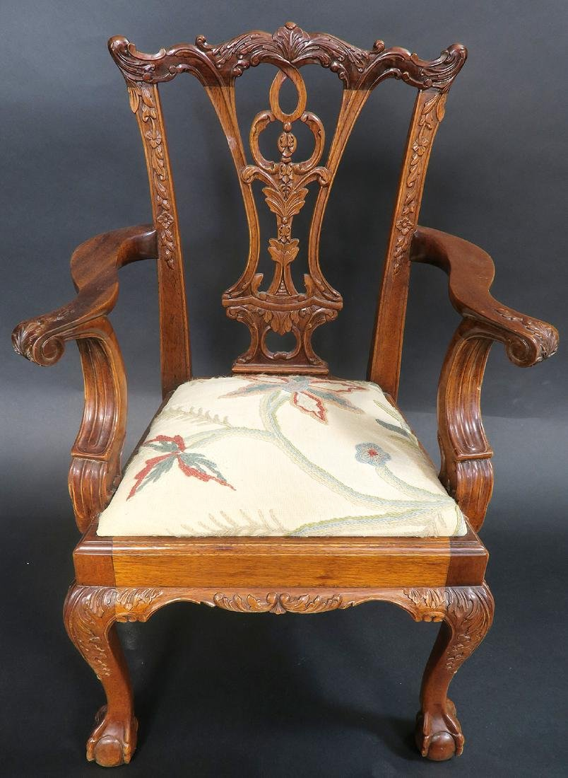 Solid Mahogany Hand Carved Childs Arm Chair - 3