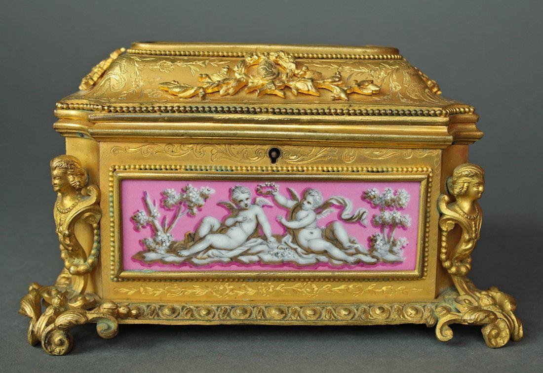 19th C. French Bronze & Sevres Porcelain Jewelry Box - 3