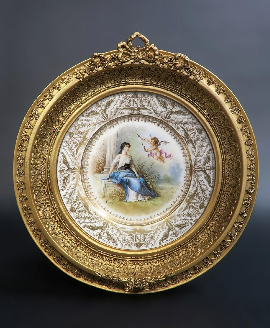 19th C. Hand Painted Sevres Framed Plate