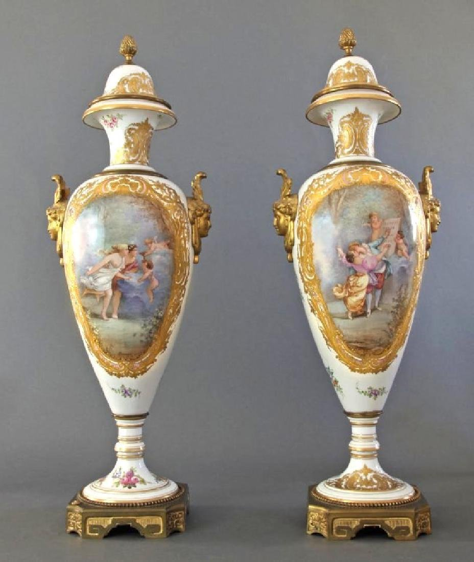 Monumental Pair of French Sevres & Bronze Vases