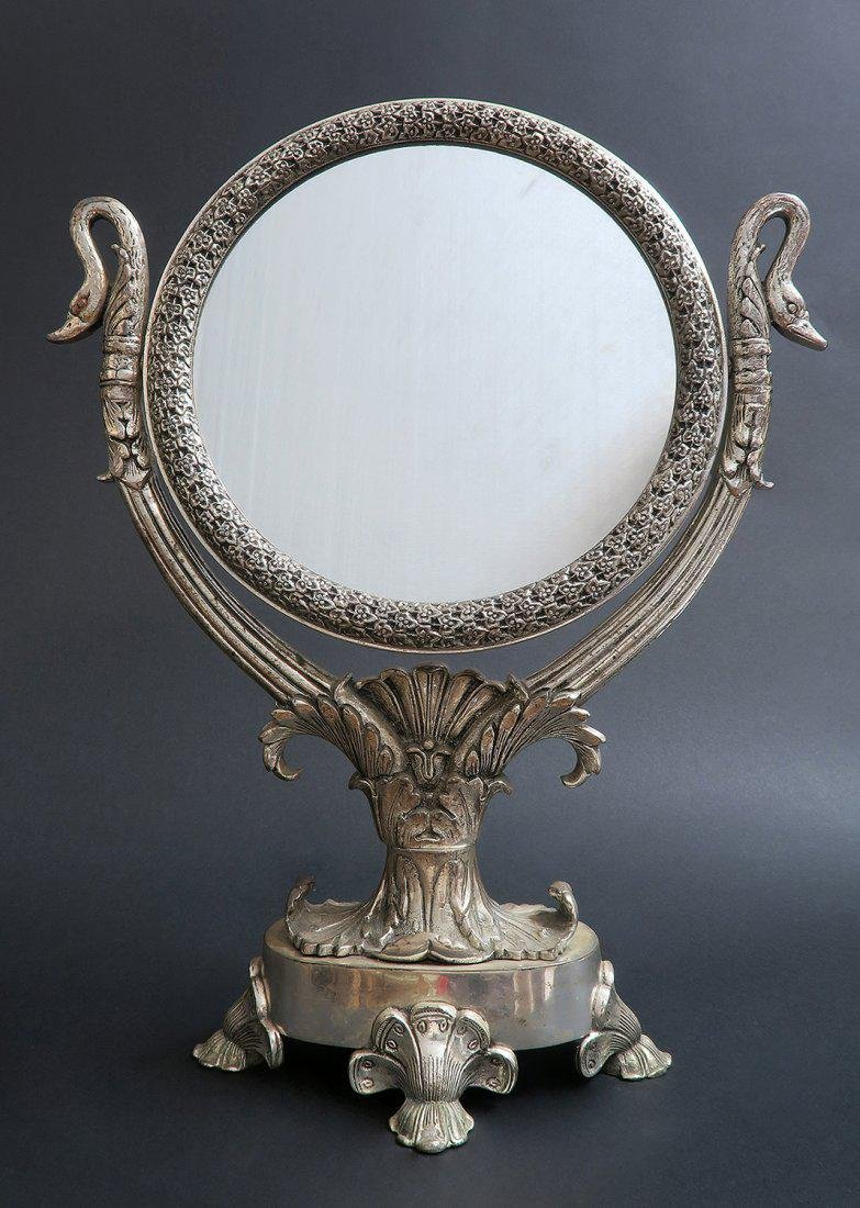 Antique French Silver Plated Mirror
