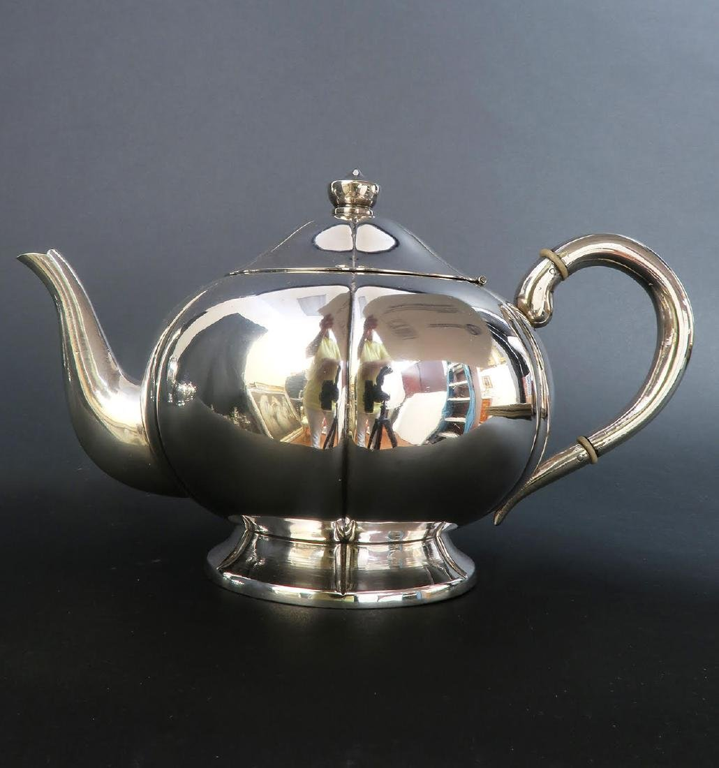 Large Sterling Silver 5pcs Tea Set with Tray - 2