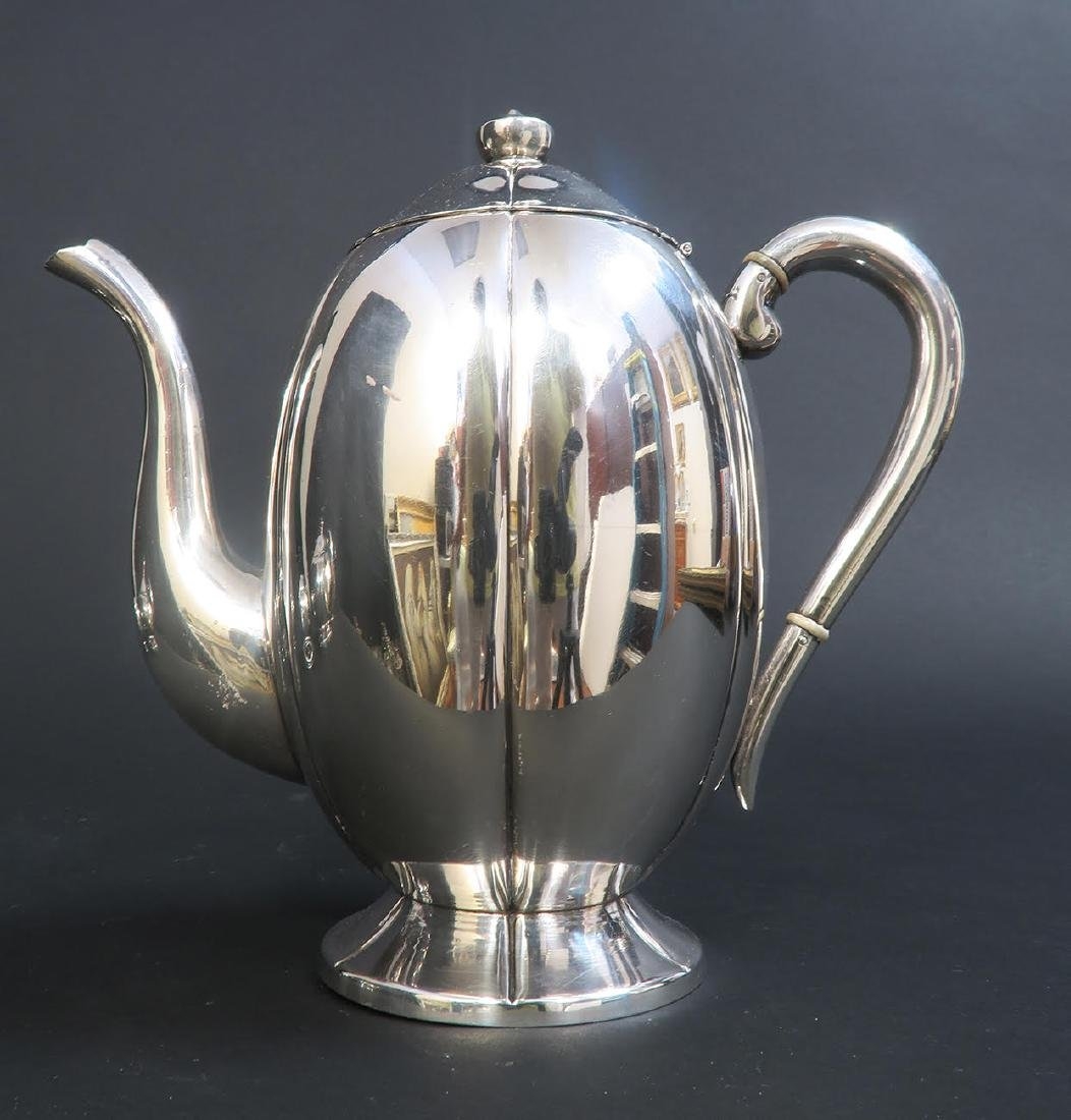 Large Sterling Silver 5pcs Tea Set with Tray - 4