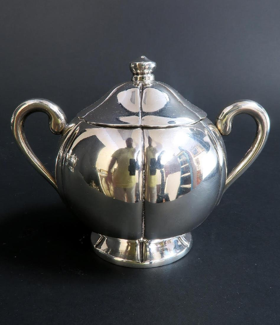Large Sterling Silver 5pcs Tea Set with Tray - 6