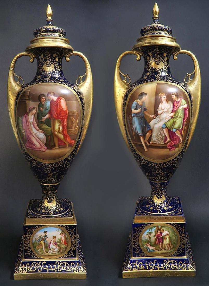Monumental Pair of Royal Vienna Vases. 19th C.