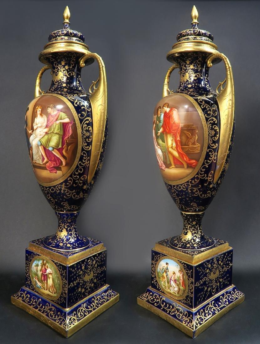 Monumental Pair of Royal Vienna Vases. 19th C. - 5