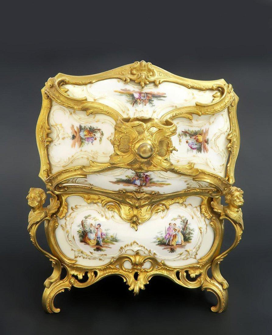 Large KPM Porcelain & Figural Bronze Jewelry Box - 5