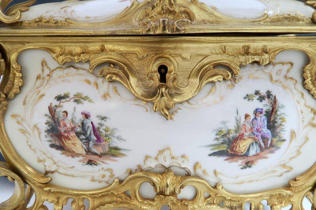 Large KPM Porcelain & Figural Bronze Jewelry Box - 7