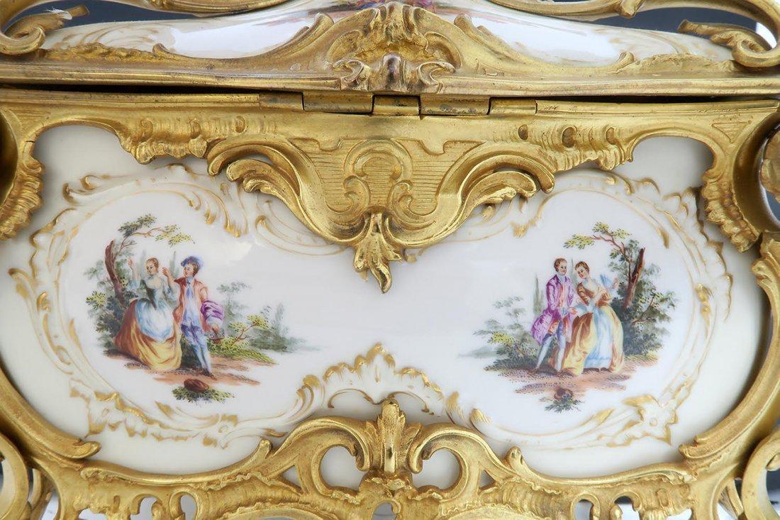 Large KPM Porcelain & Figural Bronze Jewelry Box - 9