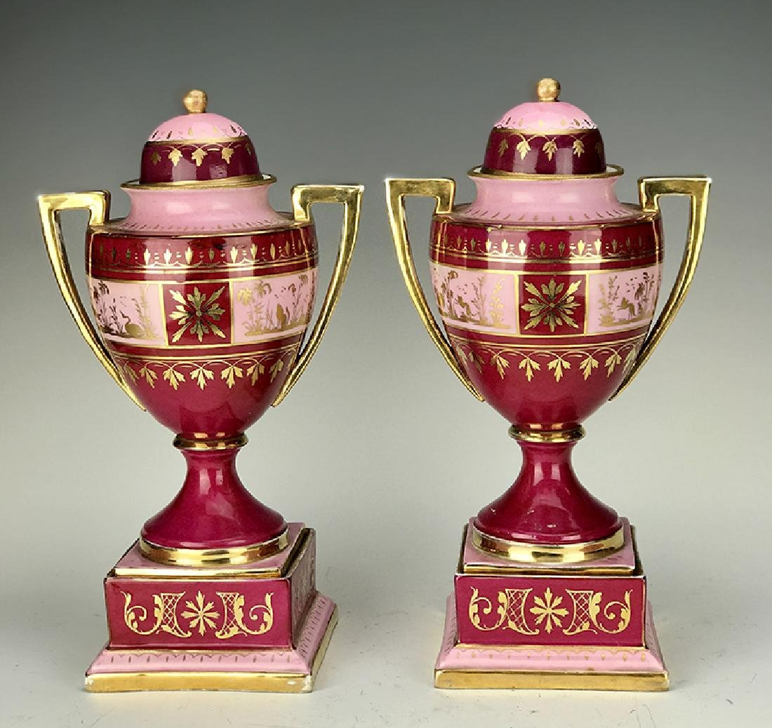 19th C. Pair of Royal Vienna Hand Painted Vases - 4