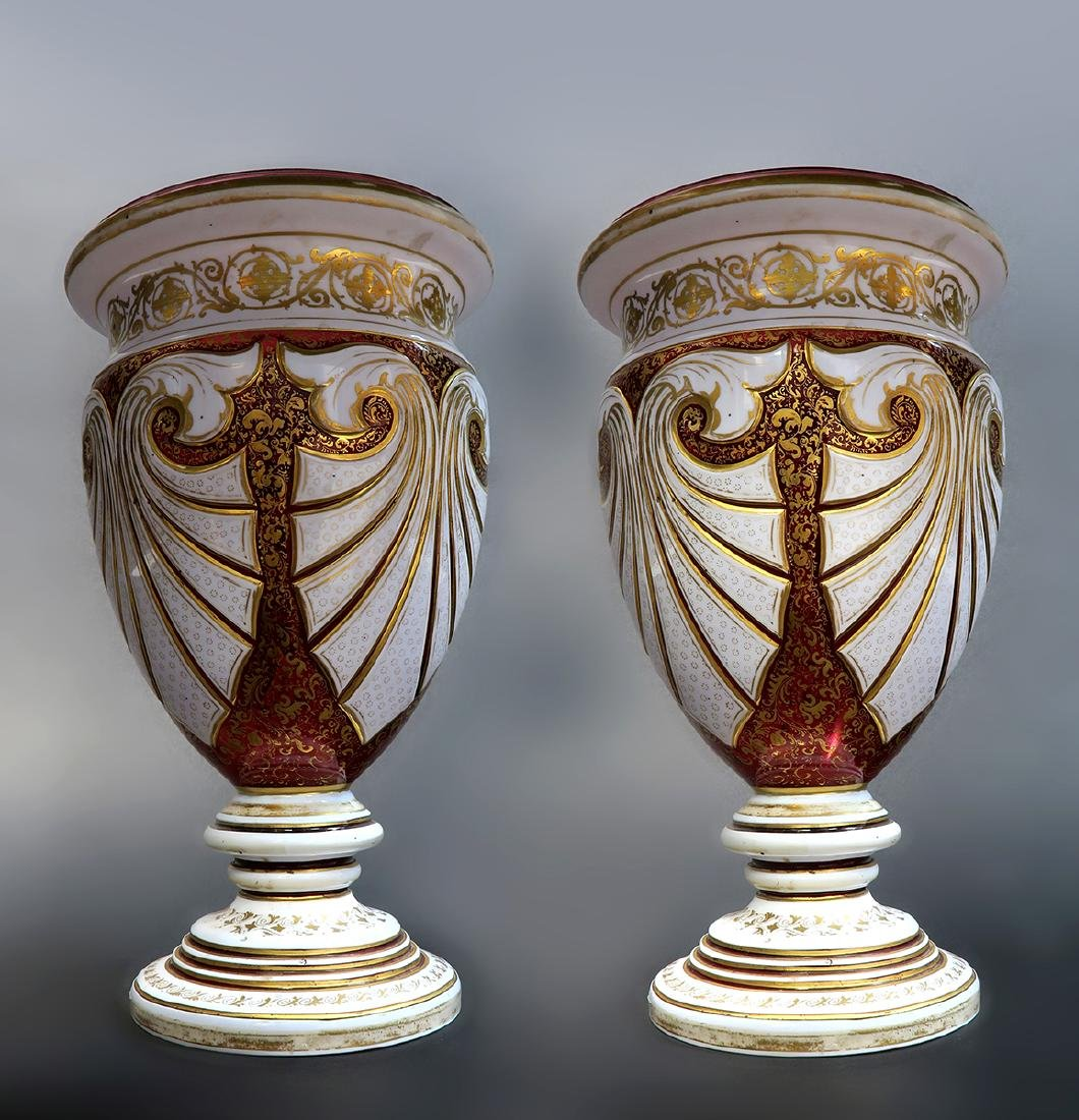 Large 19th C. Pair of Bohemian Moser Vases - 2