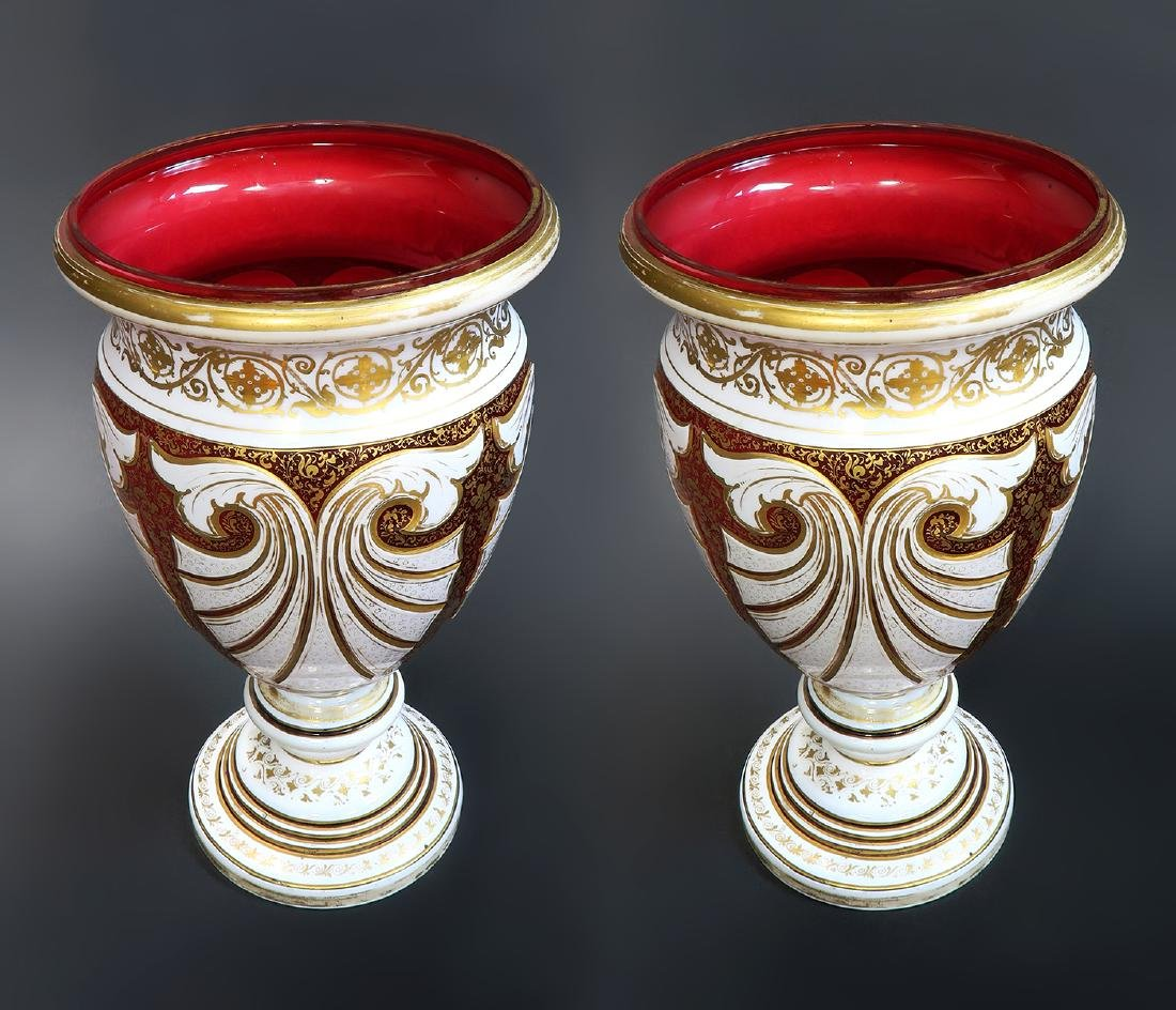 Large 19th C. Pair of Bohemian Moser Vases - 3