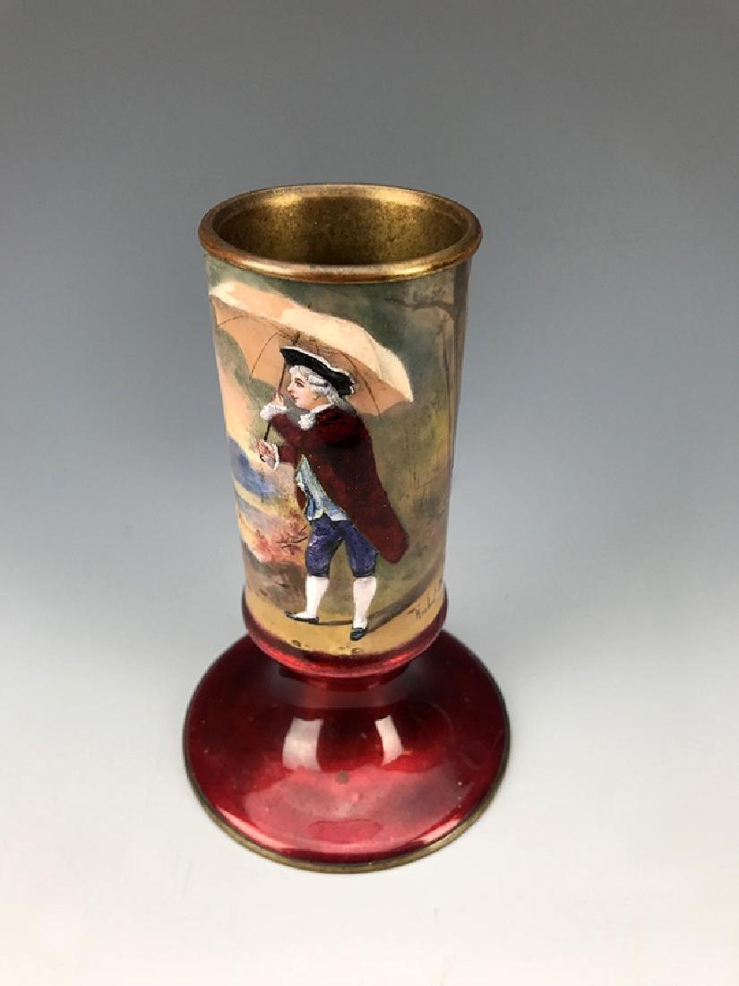 French Hand Painted Enamel Vase - 2