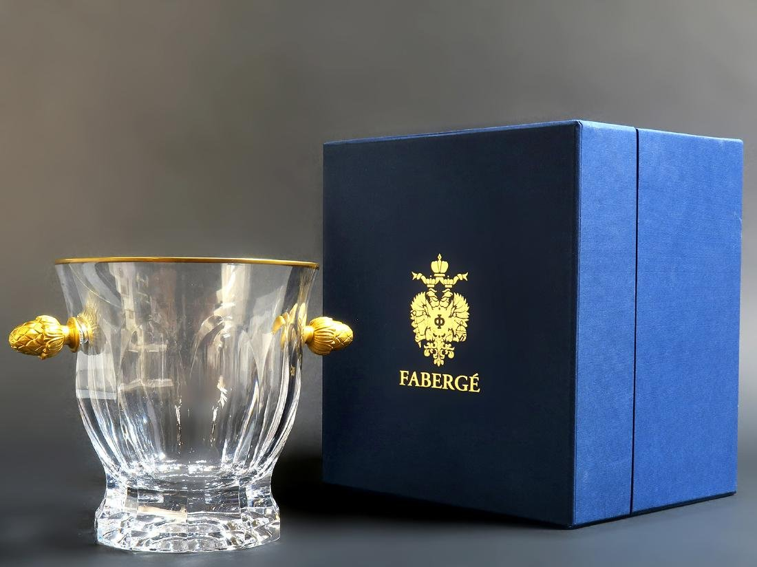 Faberge Crystal & Bronze Ice Bucket