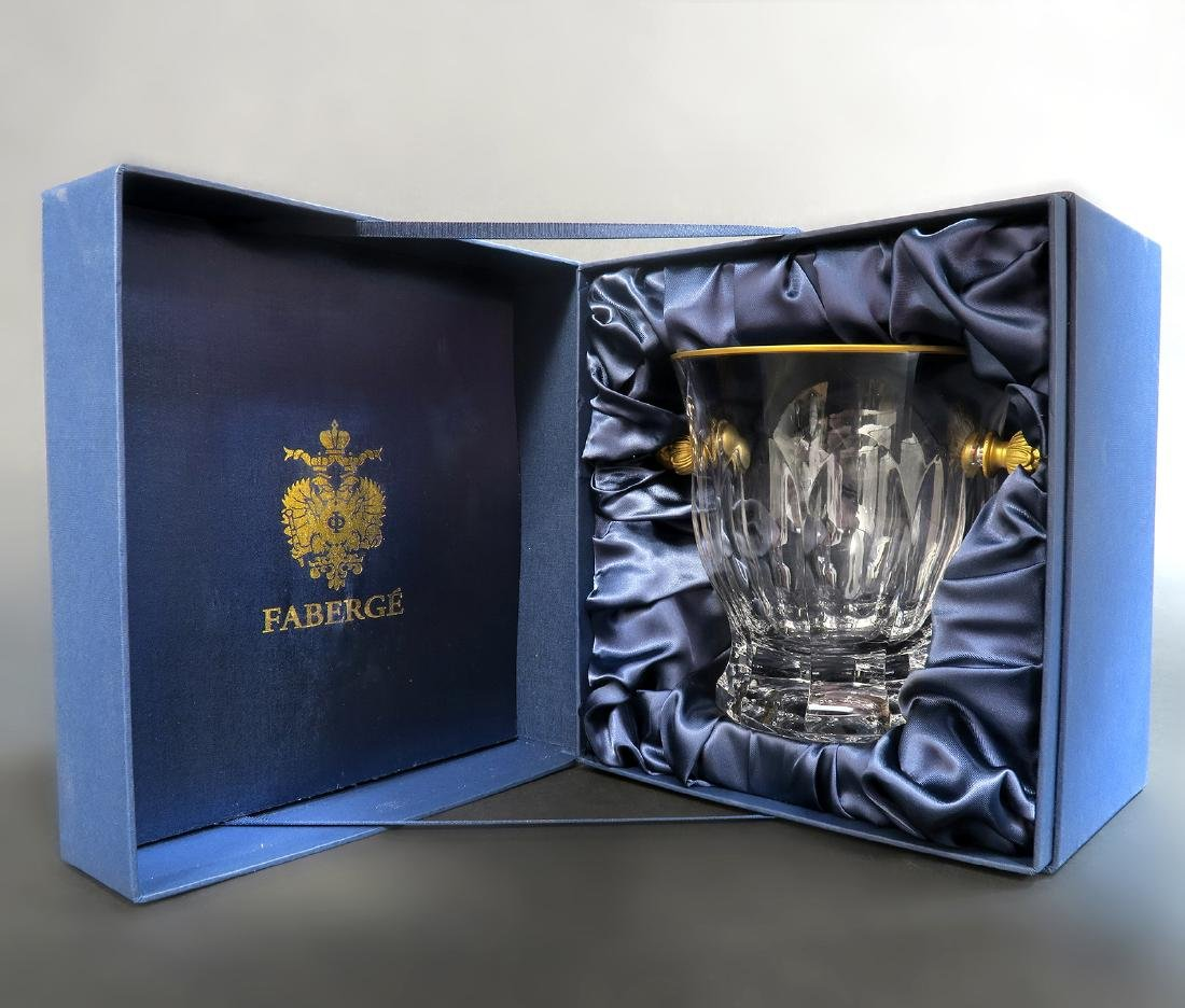 Faberge Crystal & Bronze Ice Bucket - 2