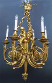 19th C. French Figural Bronze Chandelier