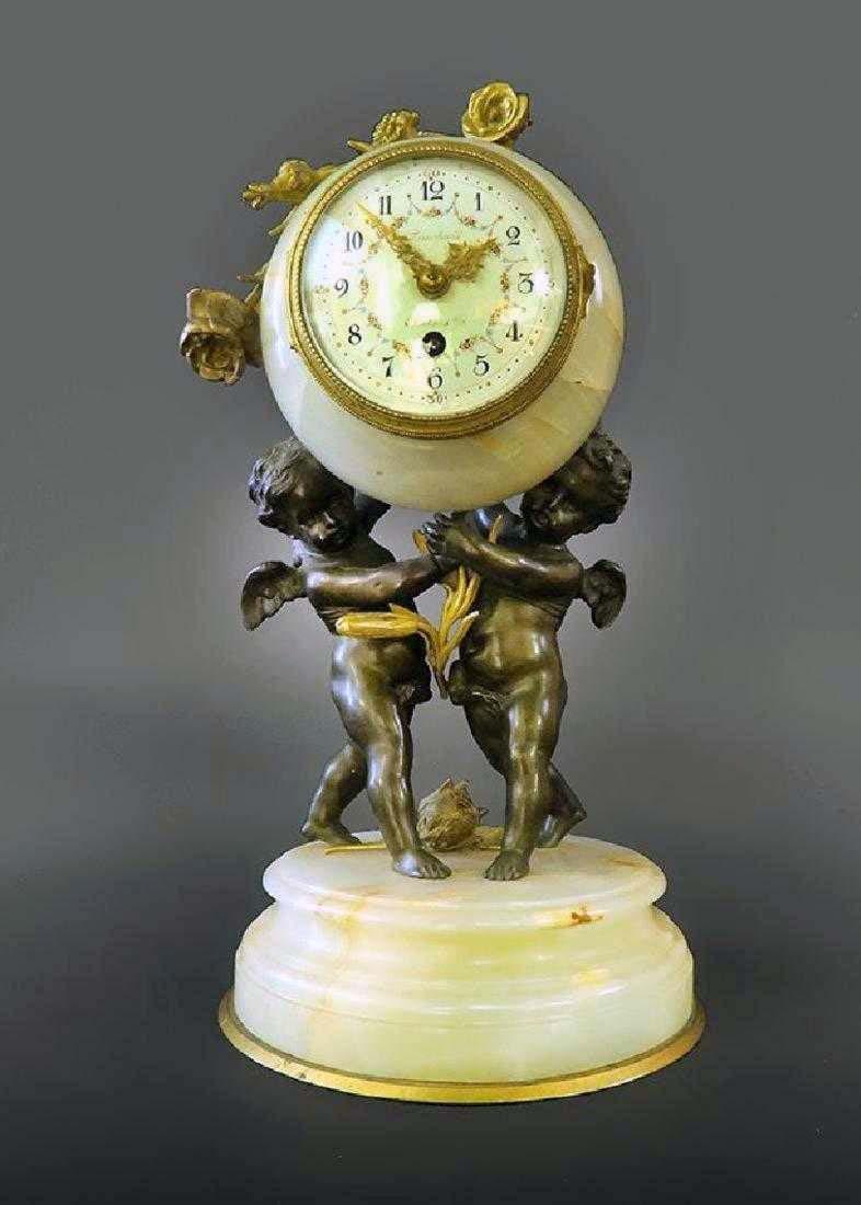 Beautiful French Gilt Bronze & Onyx Clock