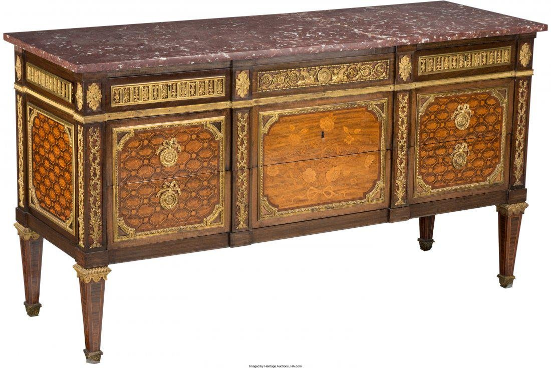 A Louis XV-Style Gilt Bronze-Mounted Marquetry I