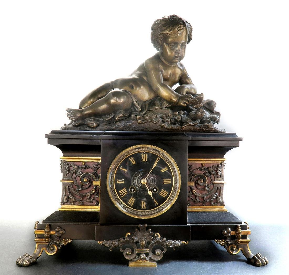 Large 19th C French Marble Figural Bronze Clock - 2
