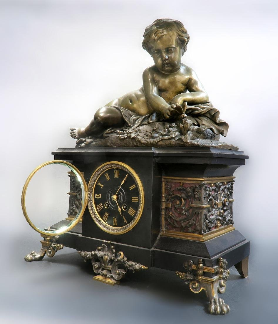 Large 19th C French Marble Figural Bronze Clock - 3