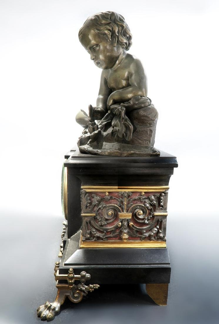 Large 19th C French Marble Figural Bronze Clock - 4