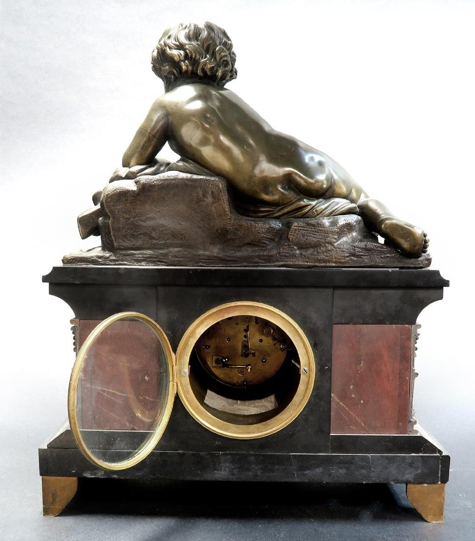 Large 19th C French Marble Figural Bronze Clock - 5