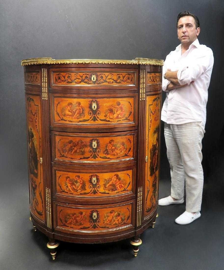 19th C. FRENCH LARGE BRONZE MOUNTED PAINTED CABINET