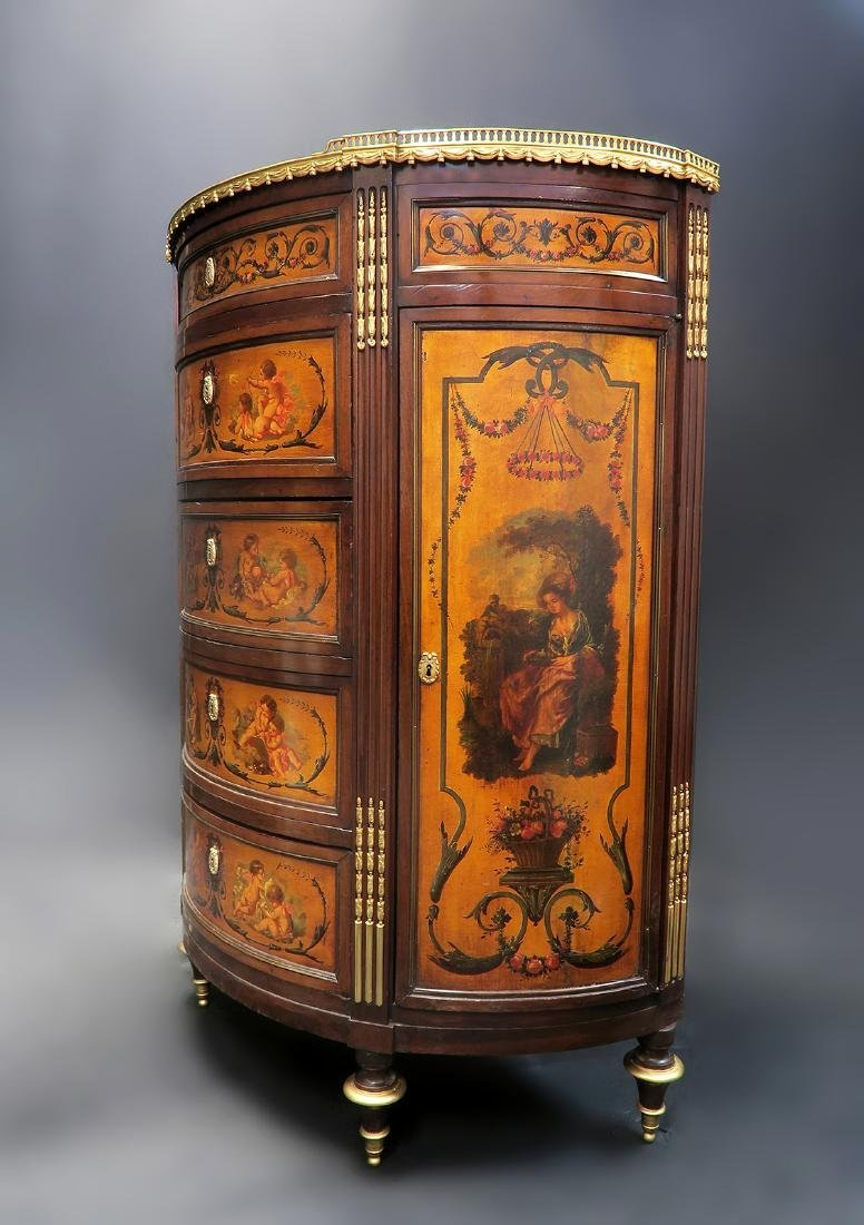 19th C. FRENCH LARGE BRONZE MOUNTED PAINTED CABINET - 3