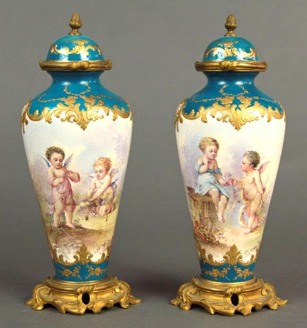 19th C. French Pair of Bronze & Sevres Porcelain Urns