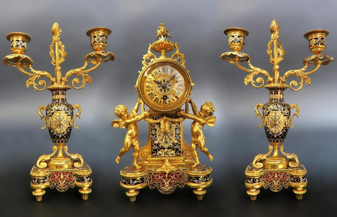 French Champleve Enamel & Figural Bronze Clock Set