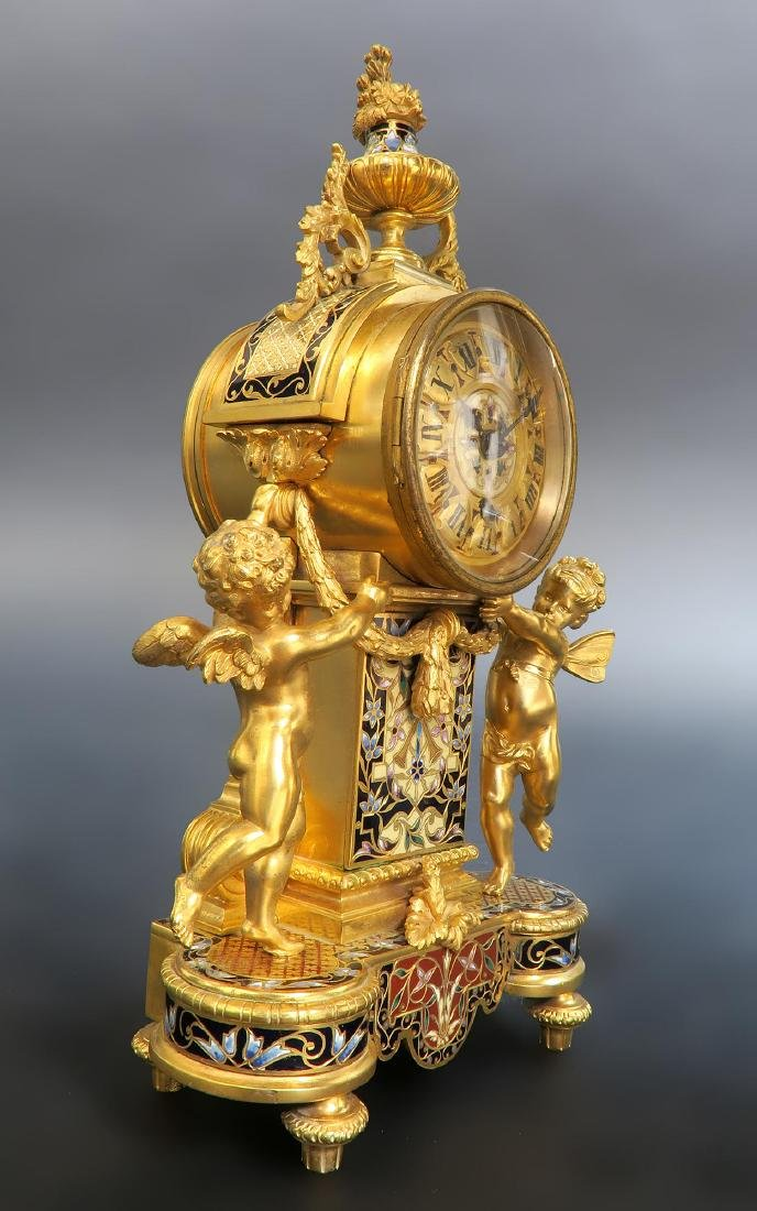 French Champleve Enamel & Figural Bronze Clock Set - 3