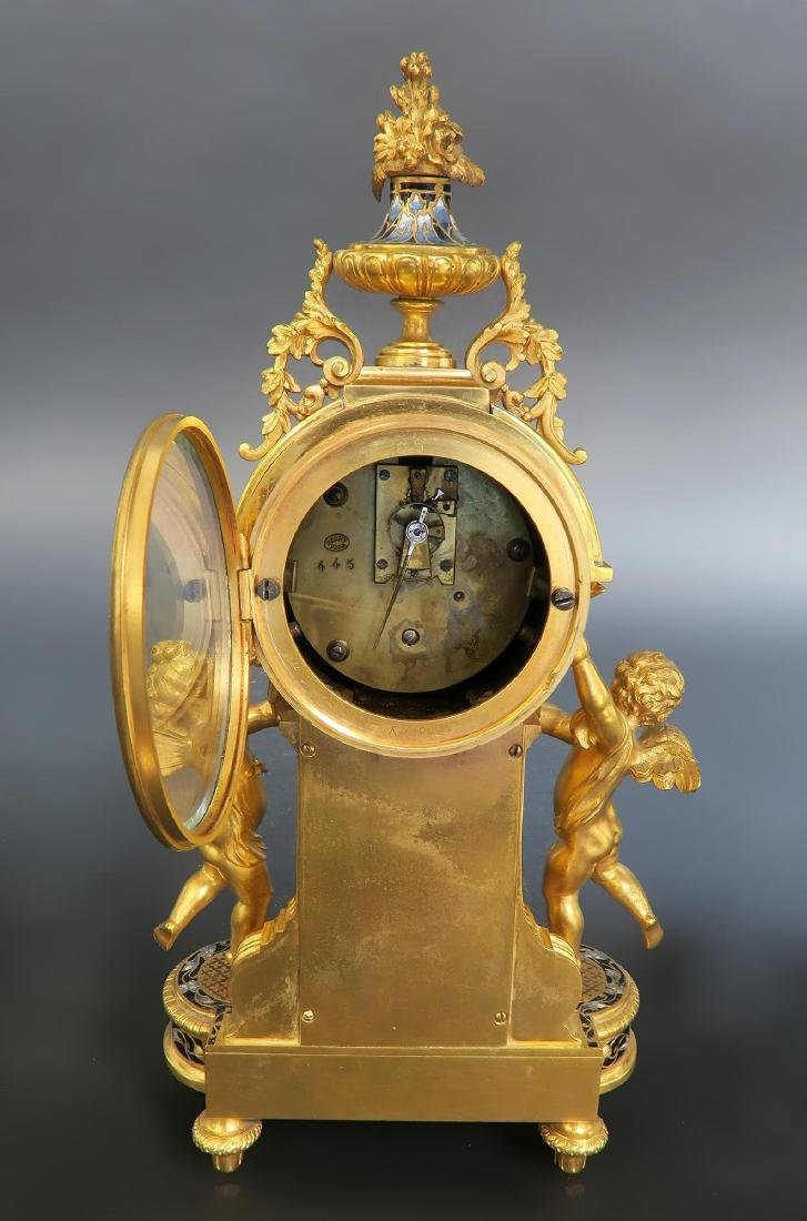 French Champleve Enamel & Figural Bronze Clock Set - 5