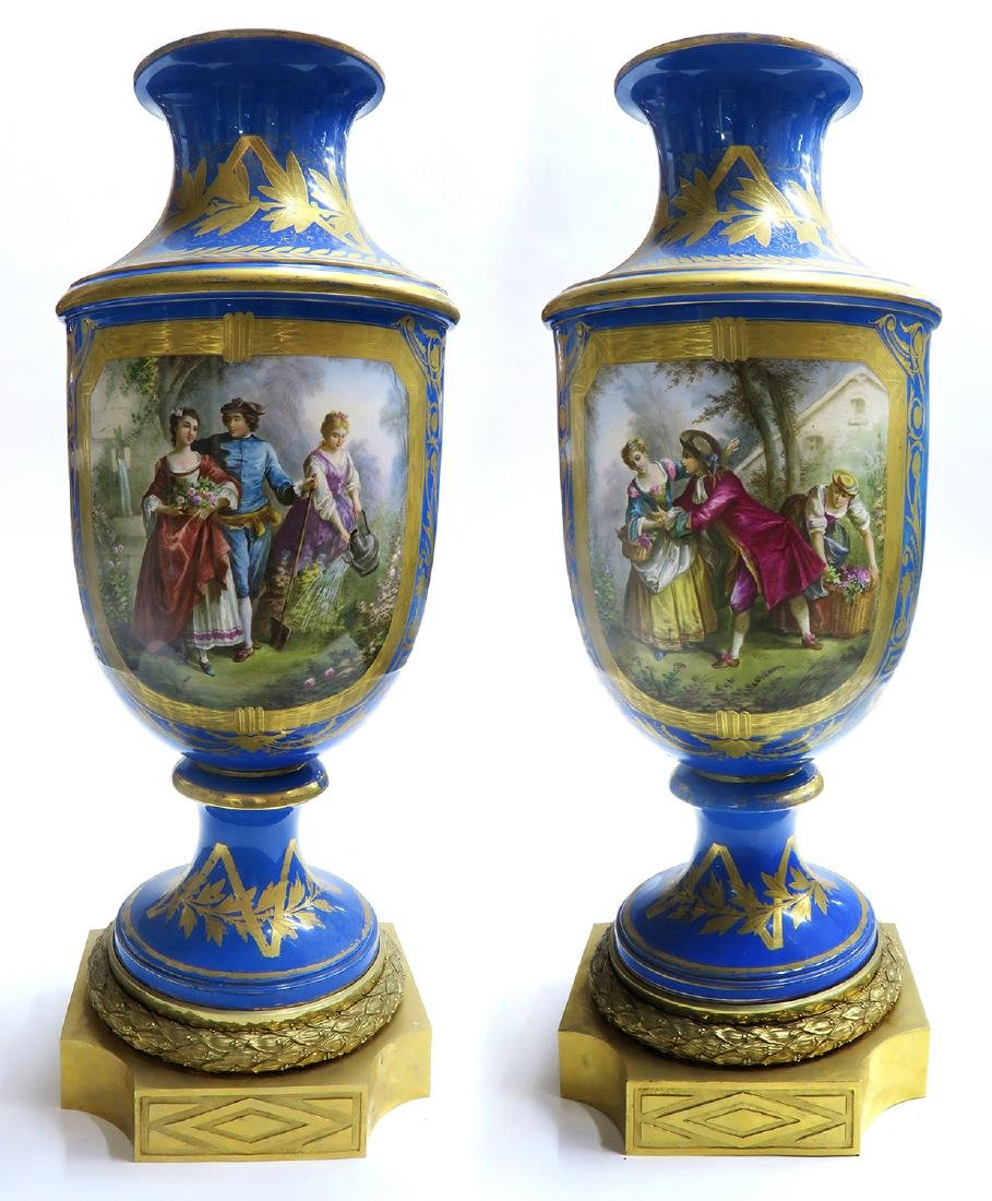 Monumental Pair of Bronze & Sevres Porcelain Vases