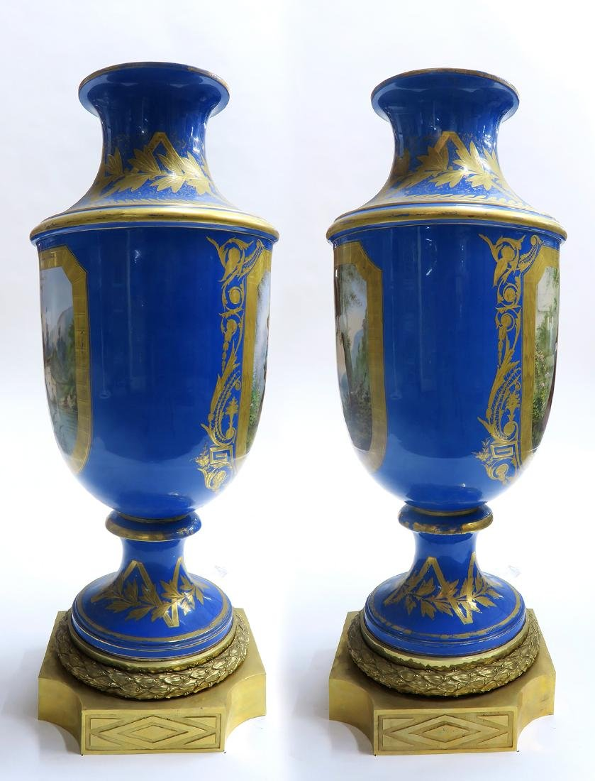 Monumental Pair of Bronze & Sevres Porcelain Vases - 4