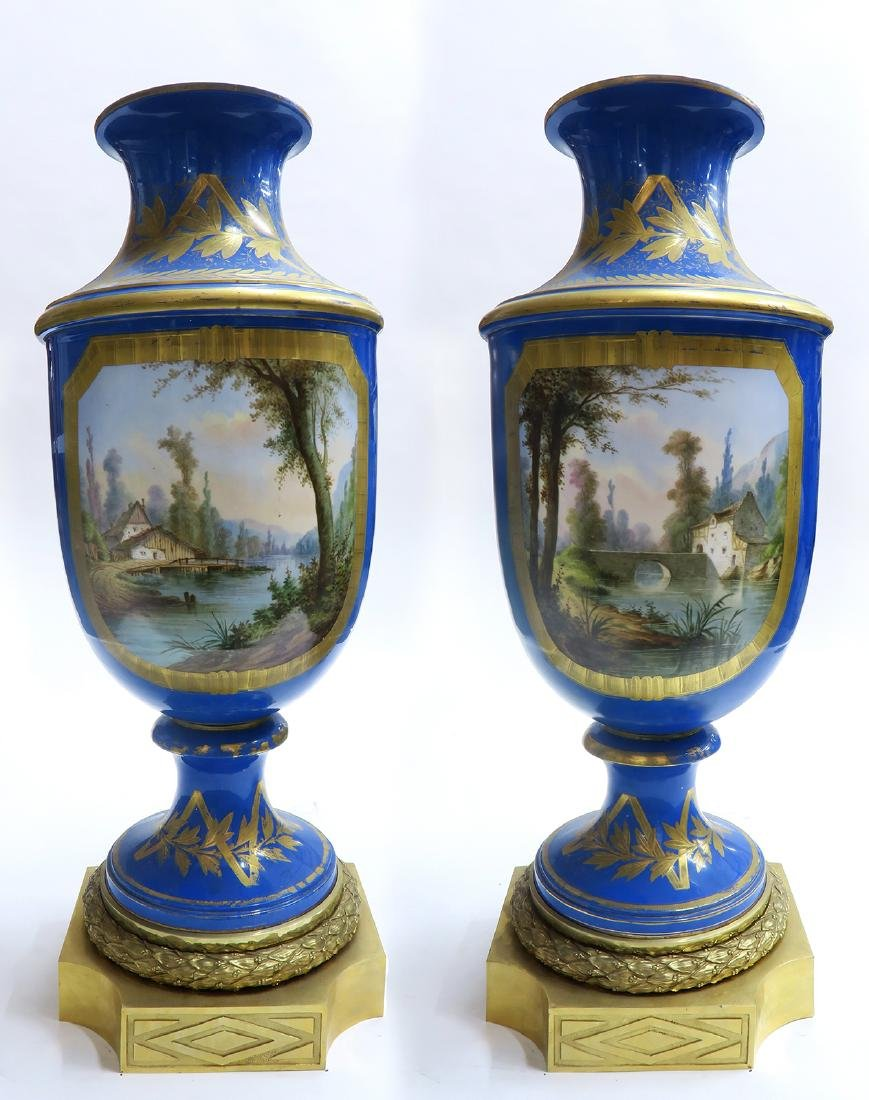 Monumental Pair of Bronze & Sevres Porcelain Vases - 5