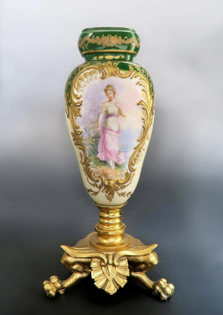 19th C. French Hand Painted Sevres Mounted Bronze Vase