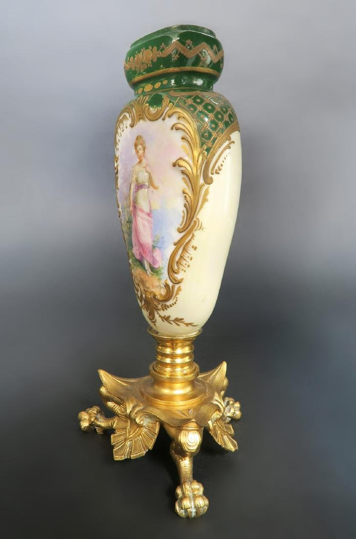 19th C. French Hand Painted Sevres Mounted Bronze Vase - 3
