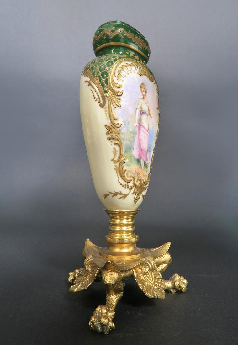 19th C. French Hand Painted Sevres Mounted Bronze Vase - 5