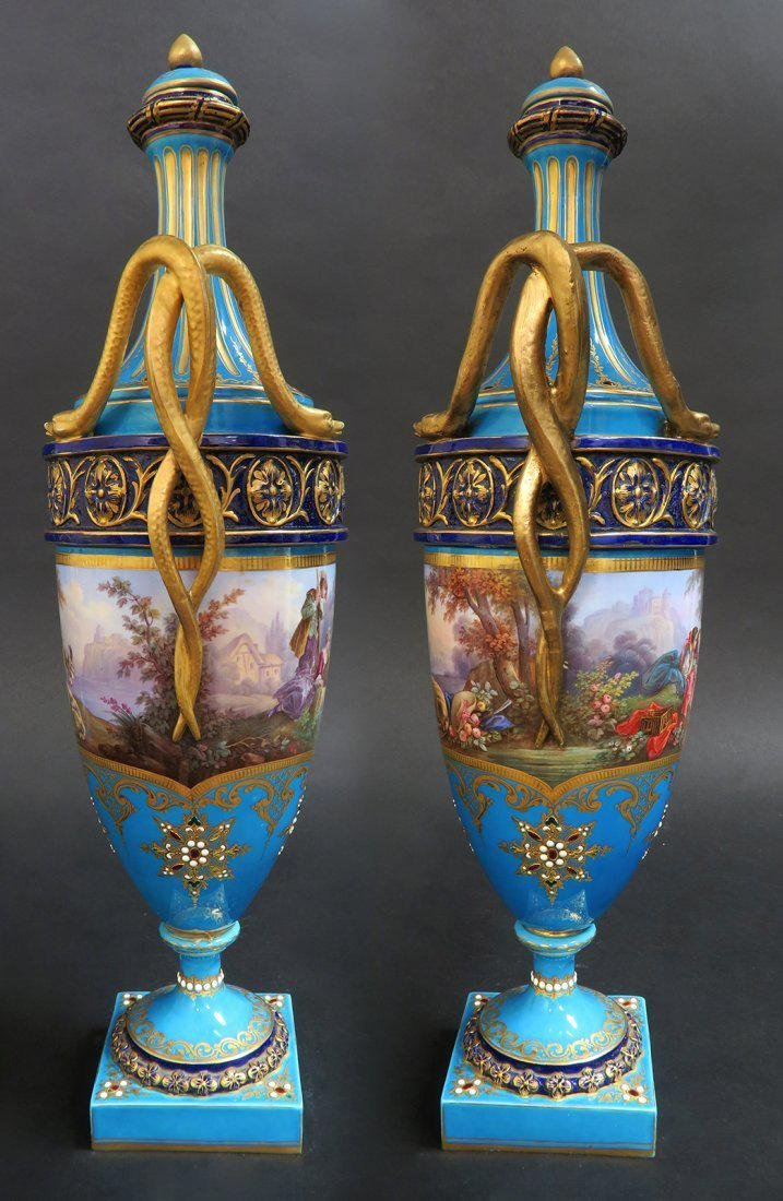 Large Pair of French Hand Painted Sevres Vases - 2