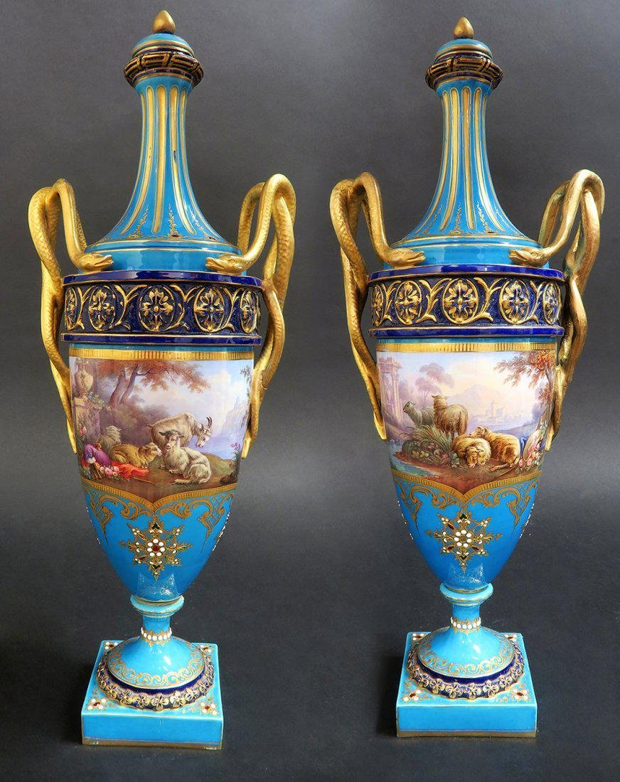 Large Pair of French Hand Painted Sevres Vases - 3