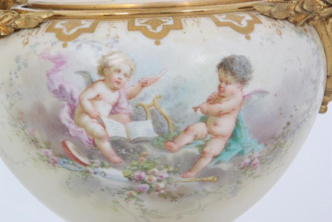 Pair of French Bronze & Sevres Urns/Vases - 5