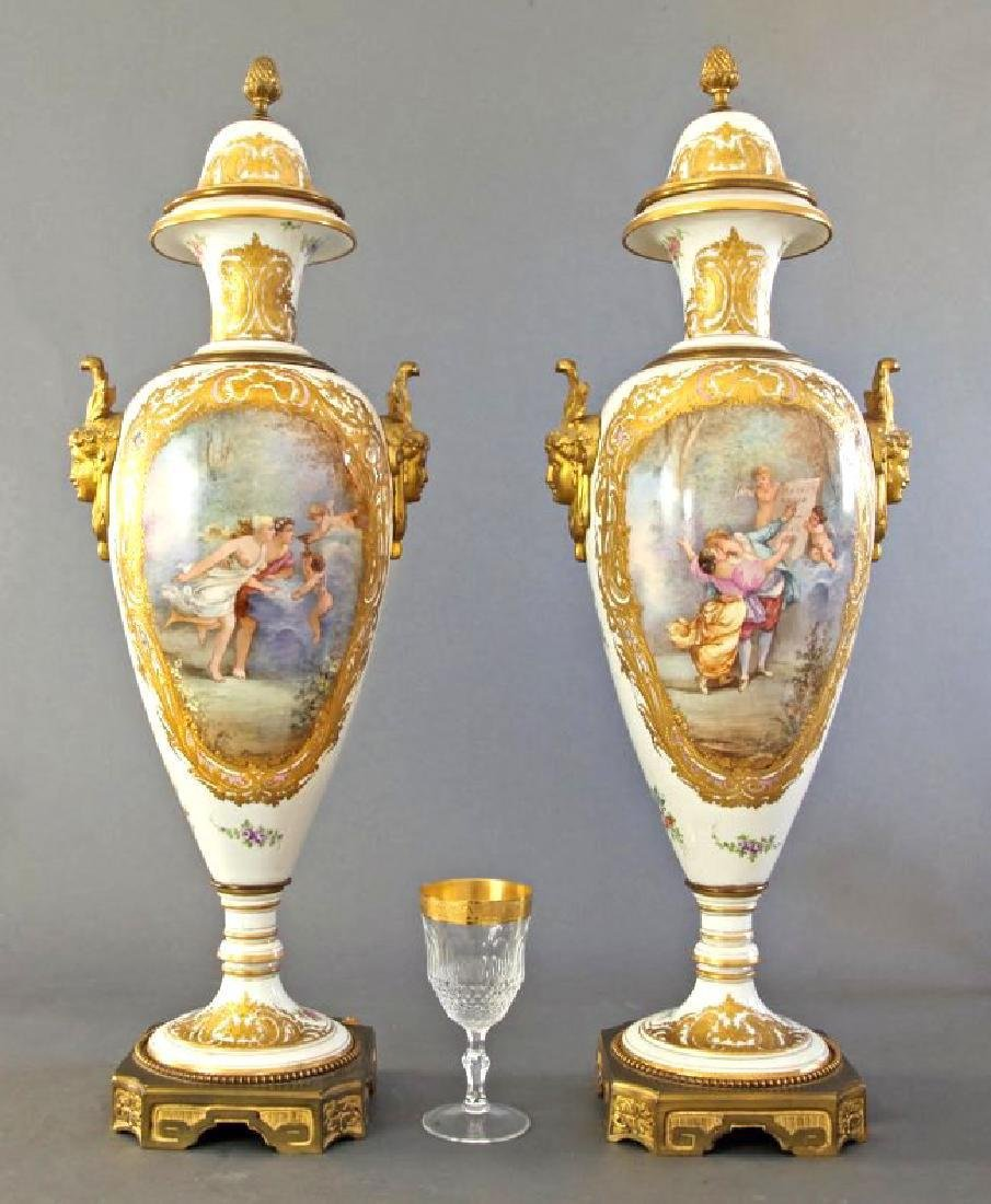 Monumental Pair of French Sevres & Bronze Vases - 3