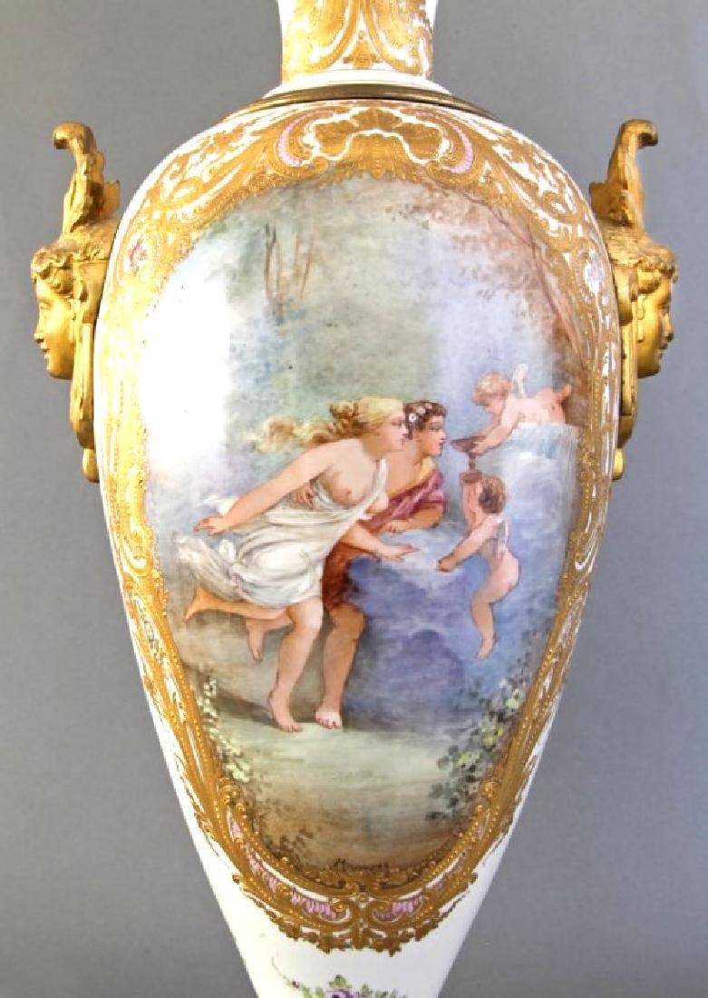 Monumental Pair of French Sevres & Bronze Vases - 5