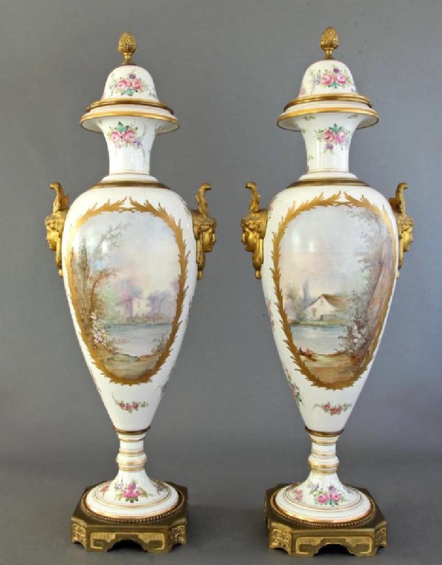 Monumental Pair of French Sevres & Bronze Vases - 8