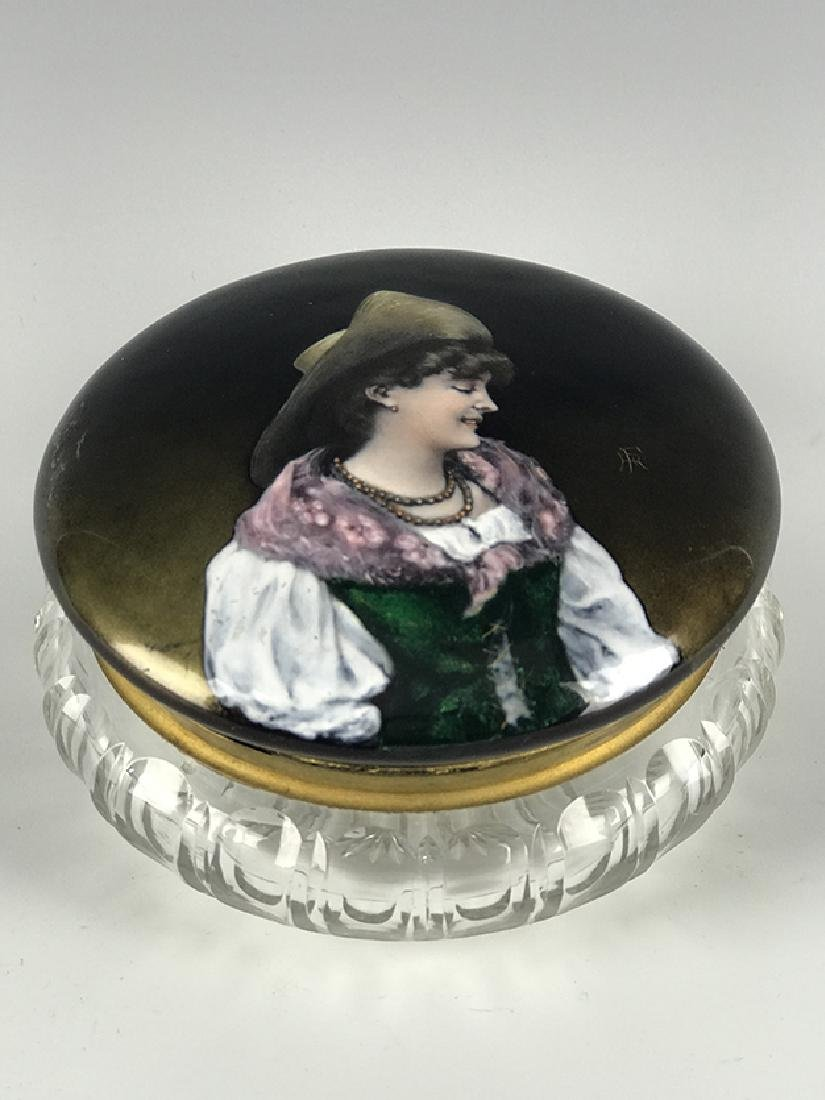 19th C. French Enamel & Crystal Jewelry Box