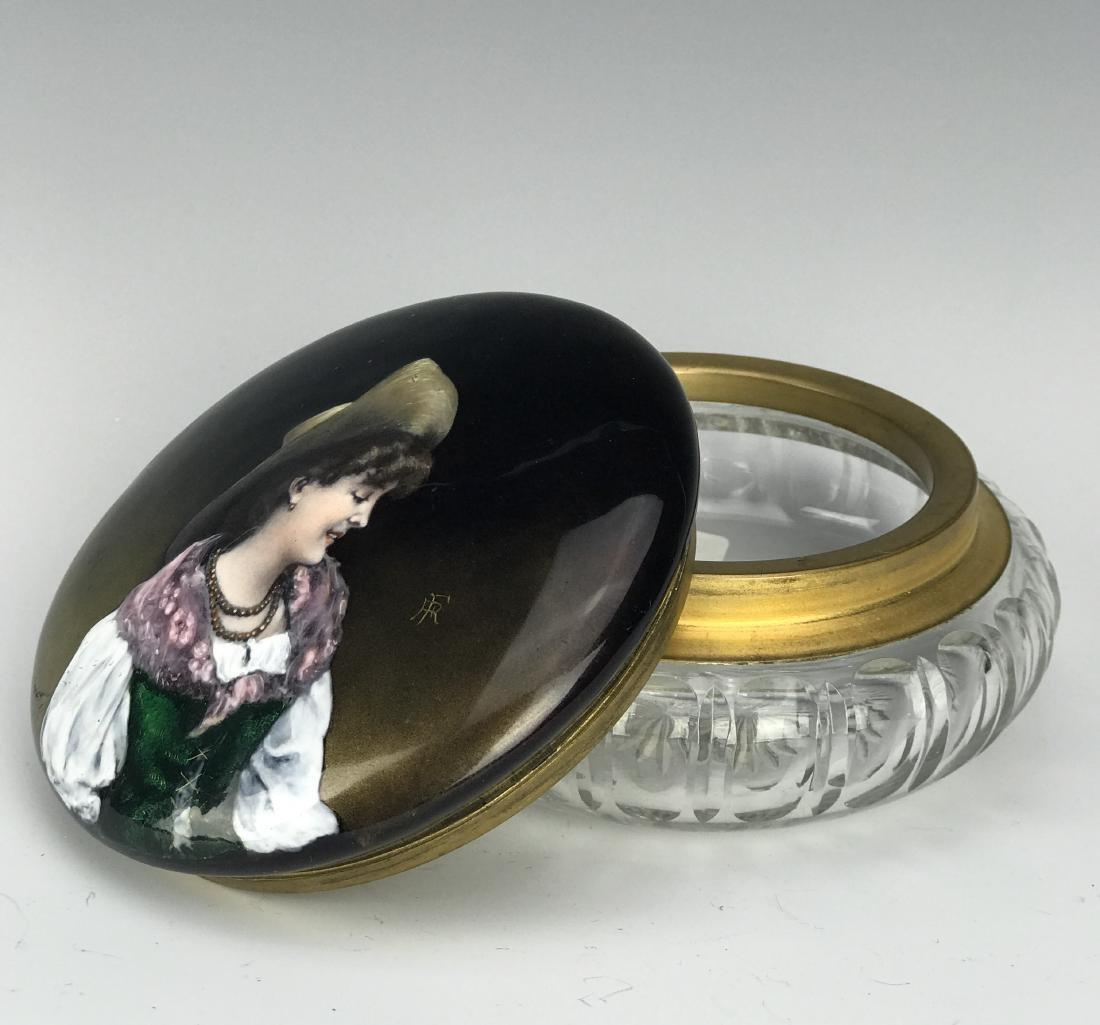 19th C. French Enamel & Crystal Jewelry Box - 2