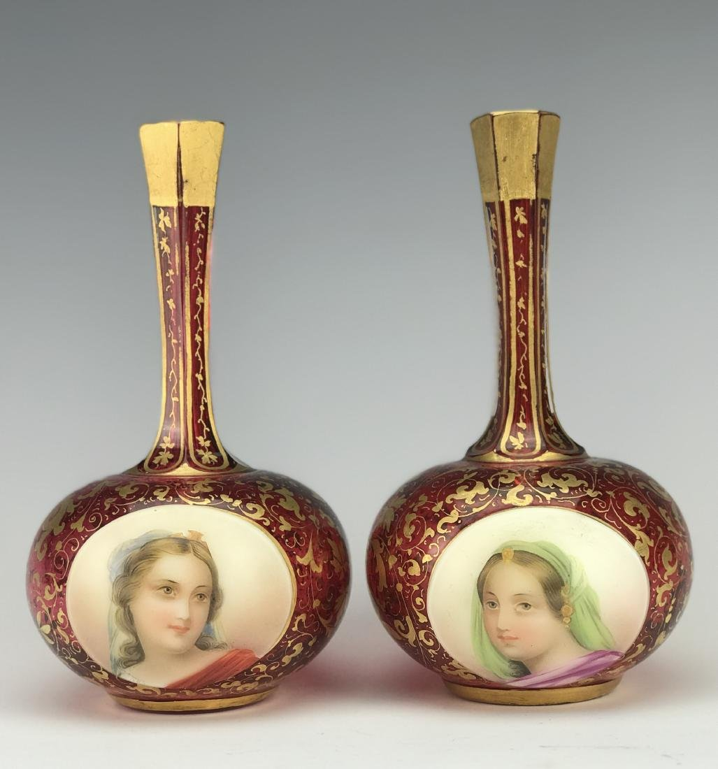 Pair of Bohemian Red Overlay Glass Vases
