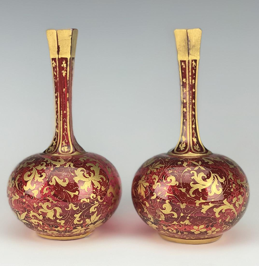 Pair of Bohemian Red Overlay Glass Vases - 2