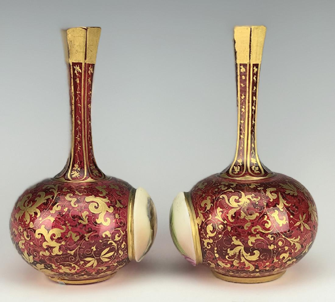 Pair of Bohemian Red Overlay Glass Vases - 3