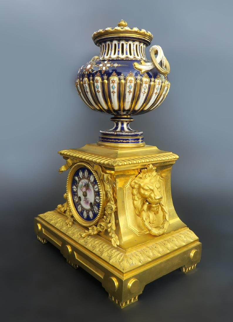 Barbedienne Gilt Bronze & Sevres Porcelain Clock Set - 2